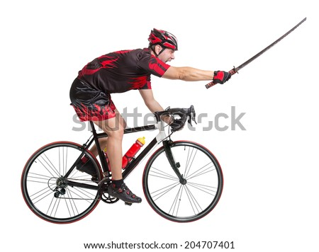Cyclist rides with samurai sword isolated on white background  - stock photo