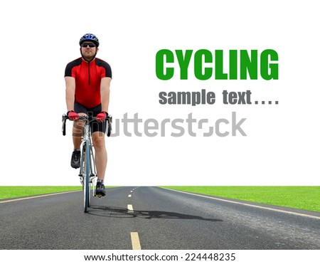 Cyclist riding on a road bike  - stock photo