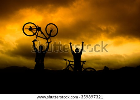 Cyclist Silhouette Victory