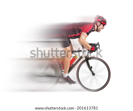 cyclist sprints on a bike isolated on white background. Cyclist sprints to the finish. Racing biker on the bike. Speeding fast cyclist. Weary cyclist race to the finish. Fast motion blurred bicyclist. - stock photo