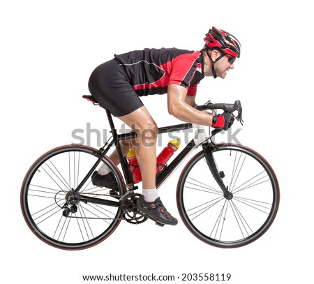 cyclist sprints on a bike isolated on white background. Sprinting cyclist riding fast on bicycle. Racing cyclist finishes the finish. Cycling race road bikes. Fast speed cyclist on a road bike. - stock photo