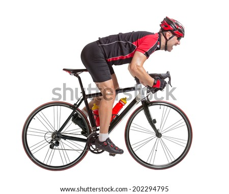 Cyclist sprints to the finish. Racing cyclist on the bike. Bicyclist isolated on a white background. Strenuous biker riding a road bike. Speeding cyclist. Weary cyclist race to the finish.