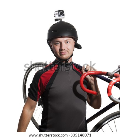 Cyclist with an action camera on his helmet. Isolated on white.