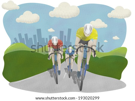 Cyclists in countryside with City background - stock photo