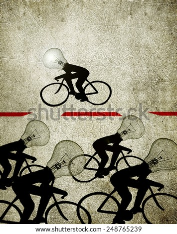cyclists with bulb heads  creativity concept illustration - stock photo