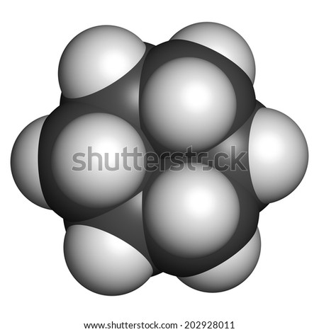 Cyclohexane chemical solvent molecule. Atoms are represented as spheres with conventional color coding: hydrogen (white), carbon (grey).