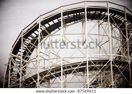 Cyclone Roller-coaster in the Coney Island Astroland Amusement Park, Usa - stock photo