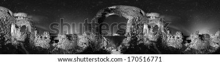 Cyclorama 360 yard beautiful ancient fortress in the darkness of the night under the stars, and the old wall-owned dead city and attract many tourists, photographers travelers scientists ethnographers - stock photo