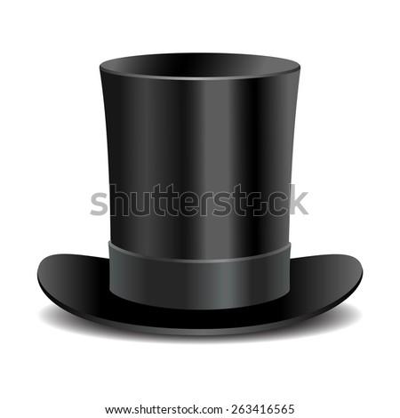 Cylinder black gentleman hat - stock photo