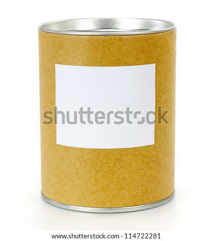 Cylinder Container with blank label - stock photo