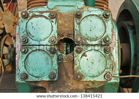 Cylinder head, on engine parts - stock photo