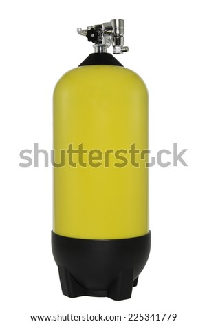 cylinder that contains hazardous substances in white background  - stock photo