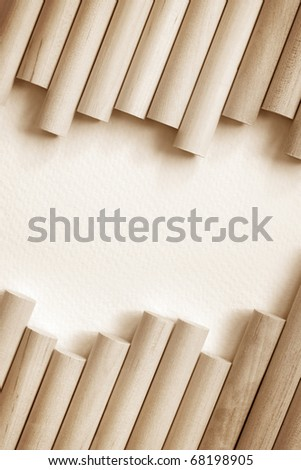 Cylinder Wood Background with copy space - stock photo