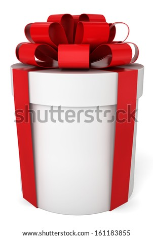 Cylindrical gift box. 3d illustration on white background