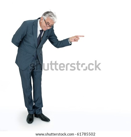 Cynic boss pointing and firing. - stock photo