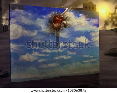 cynical digital painting of a bird flying into a wall that's painted to look like a sky - stock photo
