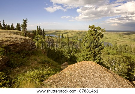 Cypress Hiils Canada conglomerate cliffs Saskatchewan view - stock photo