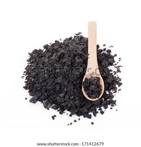Cypriot black charcoal salt - stock photo