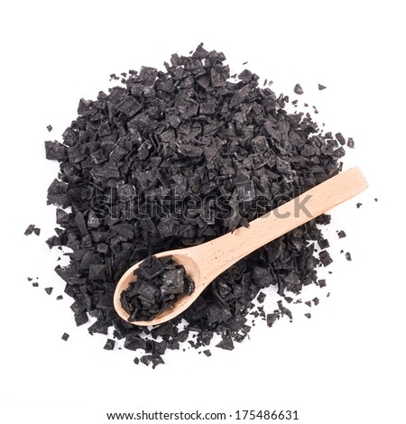 Cypriot black charcoal salt - stock photo
