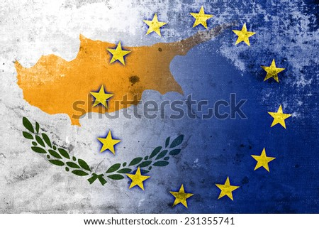 Cyprus and European Union Flag with a vintage and old look - stock photo