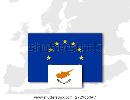 Cyprus and European Union Flag with Europe map background - stock photo