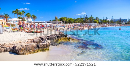 CYPRUS, AYIA NAPA - SEPTEMBER 24 2016: Famous Nissi beach.