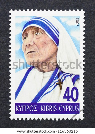 CYPRUS - CIRCA 2002: a postage stamp printed in Cyprus showing an image of mother Teresa, circa 2002. - stock photo