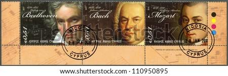 CYPRUS - CIRCA 2011 : A stamp printed in Cyprus shows Ludwig van Beethoven (1770-1827), Johann Sebastian Bach(1685-1750) and Wolfgang Amadeus Mozart (1756-1791) circa 2011 - stock photo