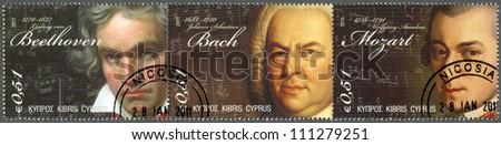 CYPRUS - CIRCA 2011 : A stamp printed in Cyprus shows Ludwig van Beethoven (1770-1827), Johann Sebastian Bach(1685-1750) and Wolfgang Amadeus Mozart (1756-1791), circa 2011 - stock photo