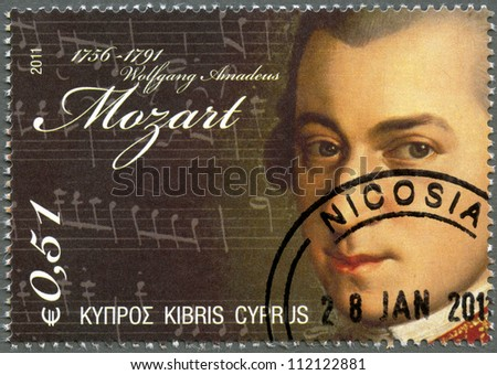 CYPRUS - CIRCA 2011 : A stamp printed in Cyprus shows Wolfgang Amadeus Mozart (1756-1791), circa 2011 - stock photo