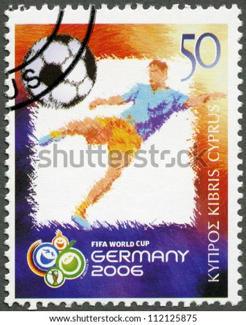 CYPRUS - CIRCA 2006: A stamp printed in Cyprus shows 2006 World Cup Soccer Championships, Germany, circa 2006 - stock photo