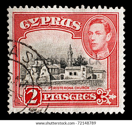 CYPRUS - CIRCA 1938: old stamp, shows Peristerona Church, black and carmine, Cyprus, circa 1938. Cyprus is a country in the Eastern Mediterranean, south of Turkey and west of Syria and Lebanon.