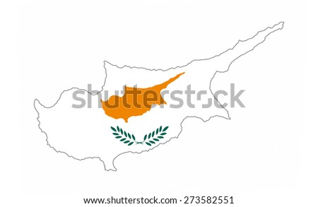 cyprus country flag map shape national symbol - stock photo
