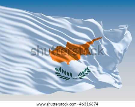 Cyprus flag flying on clear sky background. - stock photo