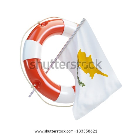 Cyprus flag in rescue circle, lifebuoy, life buoy 3d Illustrations on a white background - stock photo