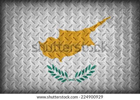 Cyprus flag pattern on the diamond metal plate texture ,vintage style - stock photo