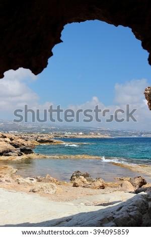 Cyprus landscape - Mediterranean Sea coast. Coral Bay near Paphos. - stock photo