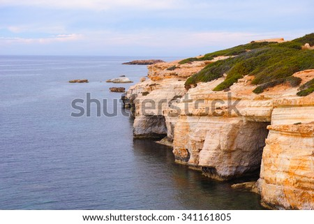 Cyprus. Mediterranean Sea. Sea caves near Paphos. - stock photo