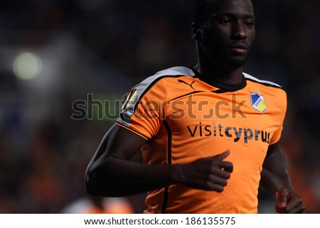 CYPRUS,NICOSIA-NOV 28:Apoel FC player Esmael Goncalves during their Europa League  soccer match at GSP stadium in Nicosia, Cyprus, Thursday, Nov. 28, 2013