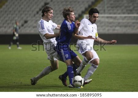CYPRUS,NICOSIA - NOV 14:Cyprus against Finland for an international friendly match at Gsp Stadium in Nicosia on November 14th,2012 - stock photo