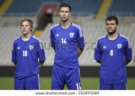 CYPRUS,NICOSIA - NOV 14:Jere Uronen,Tim Sparv and Perparim Hetemaj  of Finland at Gsp Stadium in Nicosia on November 14th,2012 - stock photo