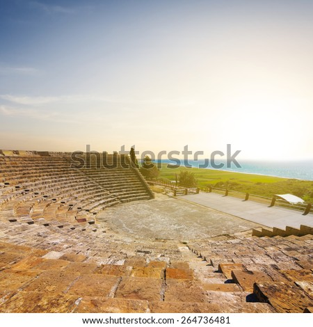 cyprus old ancient theatre - stock photo