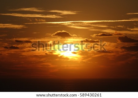Cyprus.  The sun's rays through the clouds. Sunset.  incredible sunset.