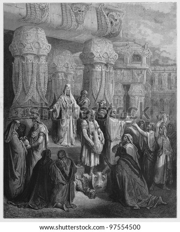 Cyrus king of Persia restores the gold and silver - Picture from The Holy Scriptures, Old and New Testaments books collection published in 1885, Stuttgart-Germany. Drawings by Gustave Dore. - stock photo