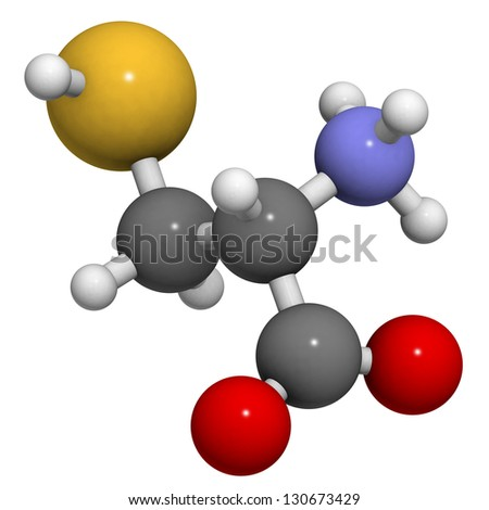 Cysteine (Cys, C) amino acid, molecular model. Amino acids are the building blocks of all proteins. Atoms are represented as spheres with conventional color coding - stock photo