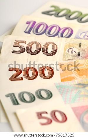 Czech bank notes - stock photo