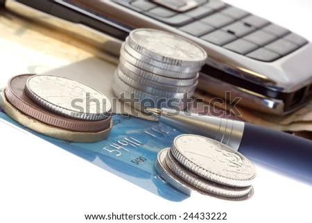 Czech bank notes, coins and mobil phone - stock photo