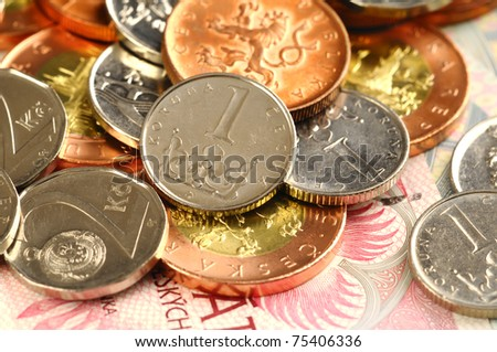 Czech bills and coins of amount one, two, ten, fifty - stock photo