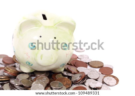 czech coin bank and money isolated on the white background