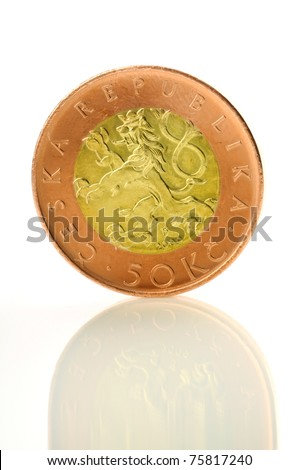 Czech coin of amount fifty standing on its edge - stock photo